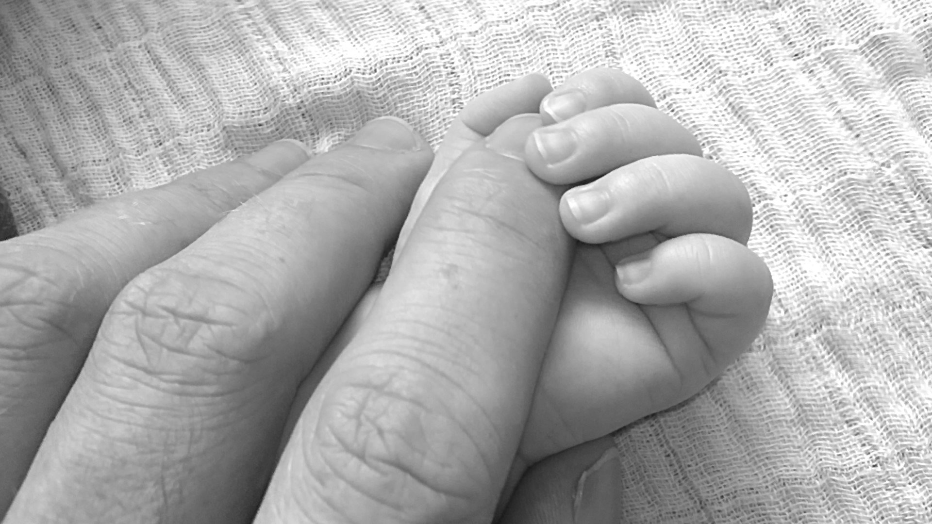Hands father and son