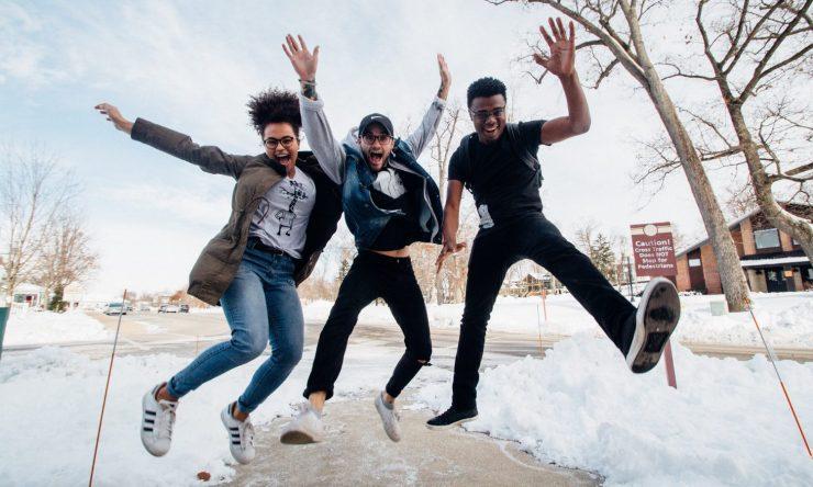 Jumping people joy